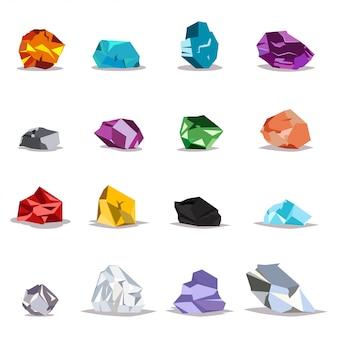 Natuurlijke edelstenen en kristallen ingesteld