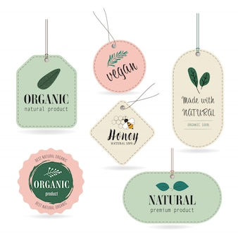 Natuurlijke en organische label label banner en badge