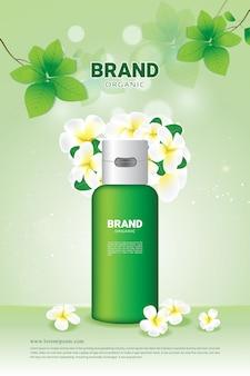Natuurlijke groene blad en bloemachtergrond organisch