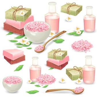 Natuurlijke handgemaakte cosmetica voor spa vector set