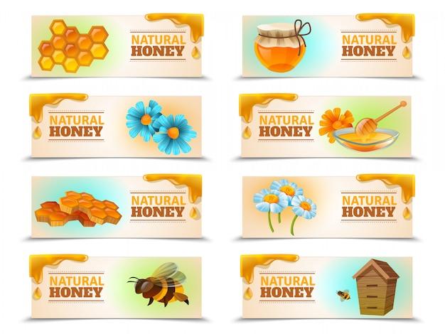 Natuurlijke honing horizontale banner set