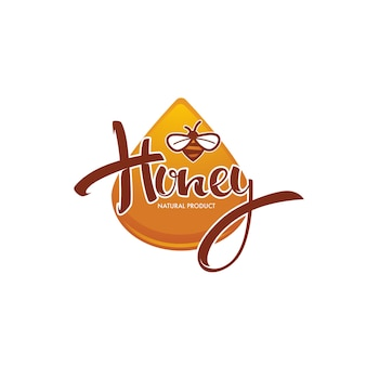 Natuurlijke honing, sticker, symbool, logo, etiket, embleem met handgetekende lettersamenstelling