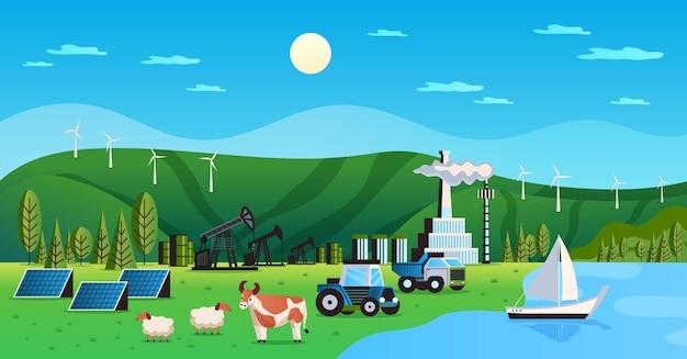 Natuurlijke hulpbronnen voor het milieu met windenergiebronnen vlakke afbeelding