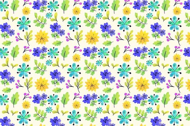 Natuurlijke kleurrijke ditsy bloemen en bladerenachtergrond