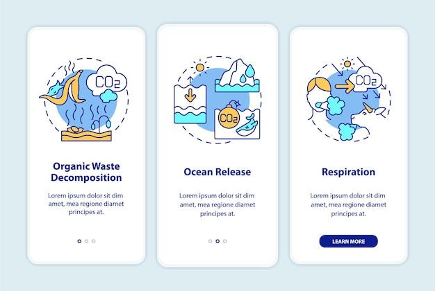 Natuurlijke koolstofemissies veroorzaken onboarding-paginascherm voor mobiele apps met concepten