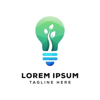 Natuurlijke lamp, groene lamp logo premium
