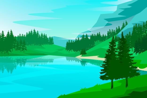 Natuurlijke landschap achtergrond concept