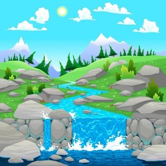 Natuurlijke landschap achtergrond ontwerp