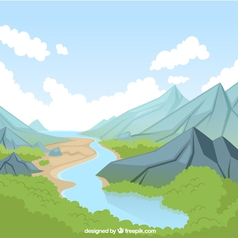 Natuurlijke landschap met rivier