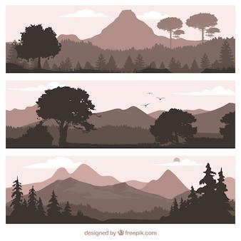 Natuurlijke landschappen banners