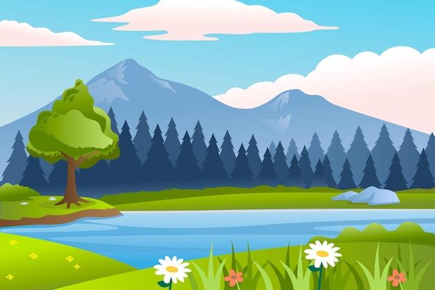 Natuurlijke landschapsachtergrond voor videoconferenties