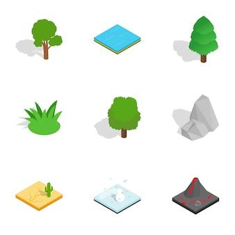 Natuurlijke landschapspictogrammen instellen, isometrische 3d-stijl