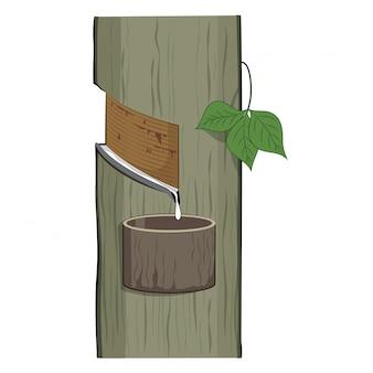 Natuurlijke latex die van een rubberboom druipt