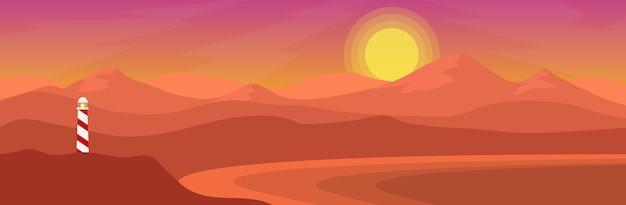 Natuurlijke mening van overzeese kust met lichte toren en bergketen in bannerstijl in zonsondergang of