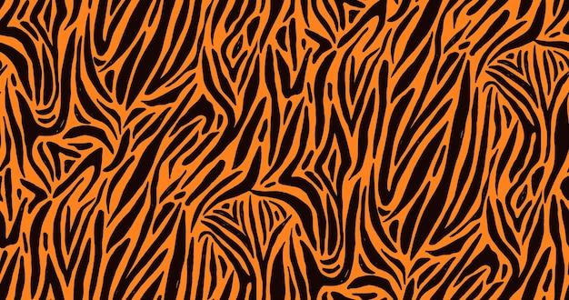 Natuurlijke naadloze patroon met oranje zebra of tijger vacht van bont textuur. helder gekleurde dierenachtergrond met strepen.