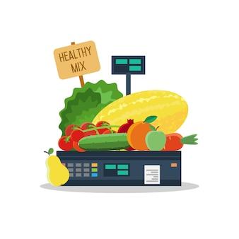 Natuurlijke producten, groenten en fruit op schalen.
