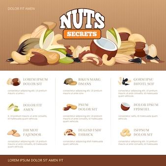 Natuurlijke rauwe noten mix brochure sjabloon