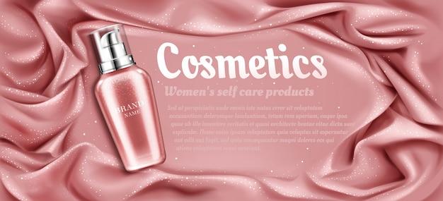 Natuurlijke schoonheid cosmetische product voor gezicht of lichaamsverzorging op roze zijdeachtige gedrapeerde stof