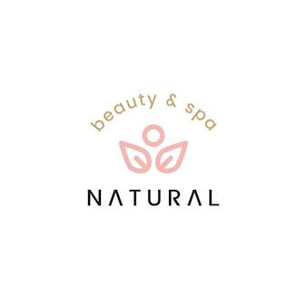 Natuurlijke schoonheid en spa logo ontwerp illustratie