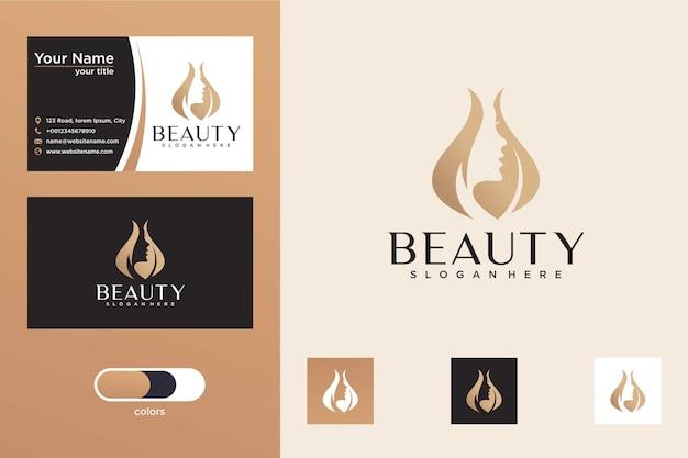 Natuurlijke schoonheid met drop-logo-ontwerp en visitekaartje