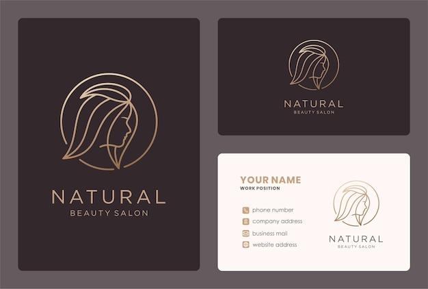 Natuurlijke schoonheidssalon logo met visitekaartje ontwerp.