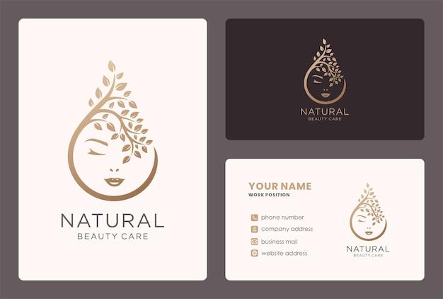 Natuurlijke schoonheidsverzorging logo-ontwerp met gezicht en tak-element.