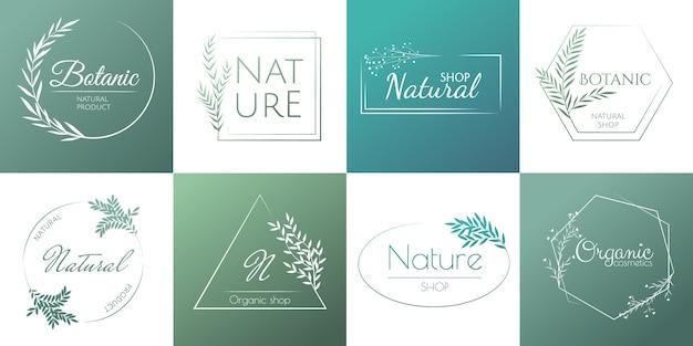Natuurlijke sjabloon voor ontwerplogo's en natuurlijke cosmetica