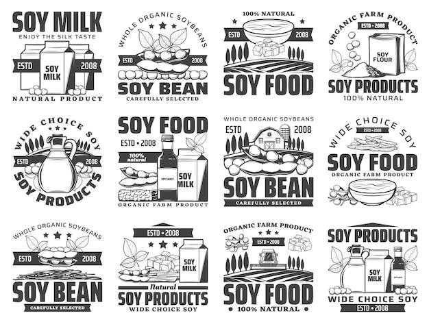 Natuurlijke soja voedselproducten retro set. sojamelkbox, zak met bloem en oliefles, saus, tofu-huid en kaas, tempeh-stuk gegraveerd. biologische sojaboerderij, vegetarische voedselwinkelemblemen