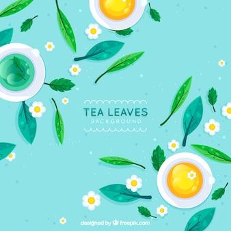 Natuurlijke thee laat achtergrond met platte ontwerp