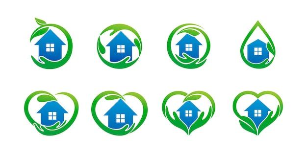 Natuurlijke thuisverzorgingsset met een combinatie van handen en thuis. logo sjabloon voor bedrijf premium vector