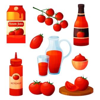 Natuurlijke tomatensaus en sap