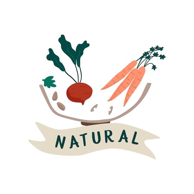 Natuurlijke vers voedsel badge vector