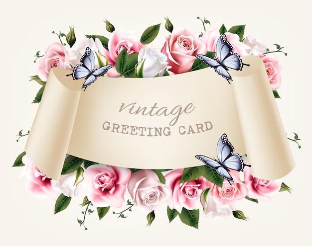 Natuurlijke vintage groet frame met rozen en vlinder. vector.