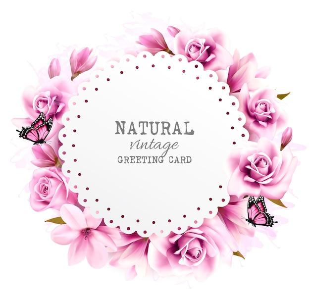 Natuurlijke vintage wenskaart met roze magnolia. vector.