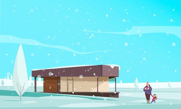 Natuurlijke winterfenomenen met mensen die plat lopen