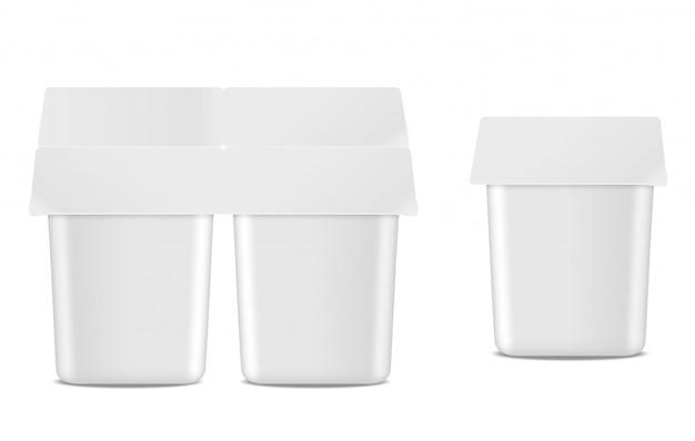 Natuurlijke yoghurt vector realistische pakketreeks