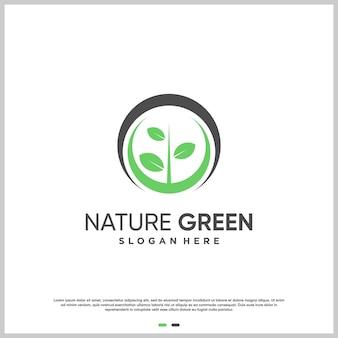Natuurlogo met modern creatief ontwerp premium vector