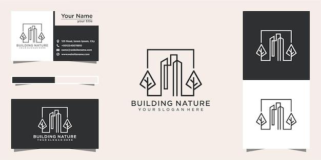 Natuurlogo-ontwerp bouwen met lijnstijl en visitekaartje