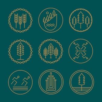 Natuurmonogram logo ontwerpsjabloon set