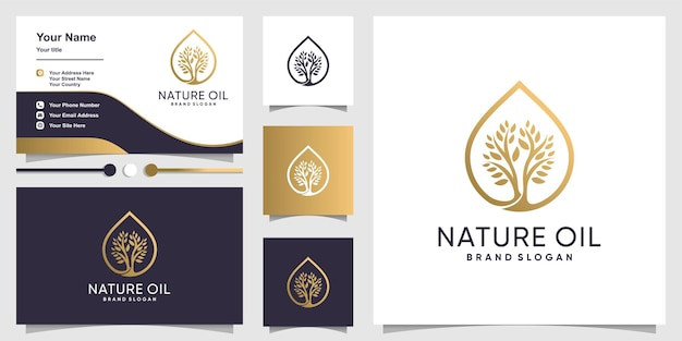 Natuurolie-logo met modern boomconcept en visitekaartjeontwerp