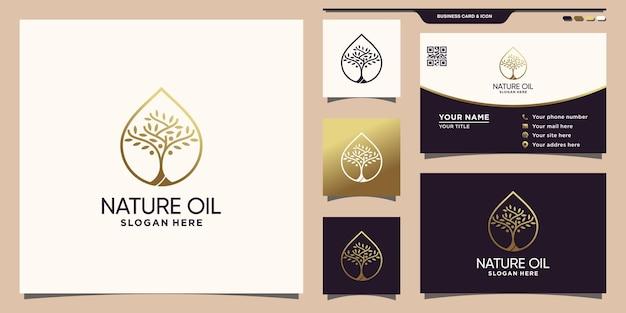 Natuurolie-logo met uniek waterdruppelconcept en visitekaartjeontwerp premium vector