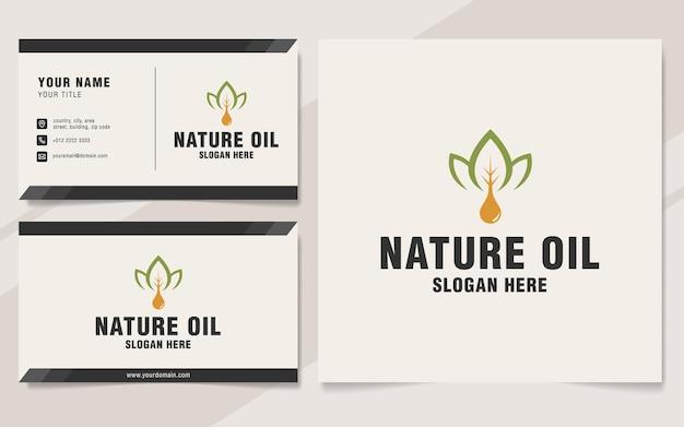 Natuurolie logo sjabloon op monogramstijl