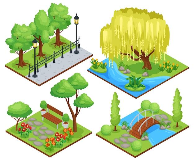 Natuurpark beschermd landschap recreatiegebieden concept 4 isometrische composities met treurwilg bloembedden illustratie