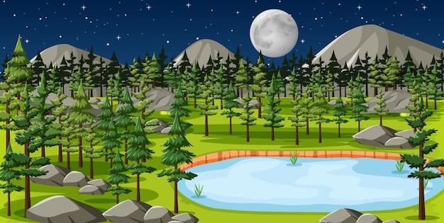Natuurpark met meerlandschap bij nachtscène