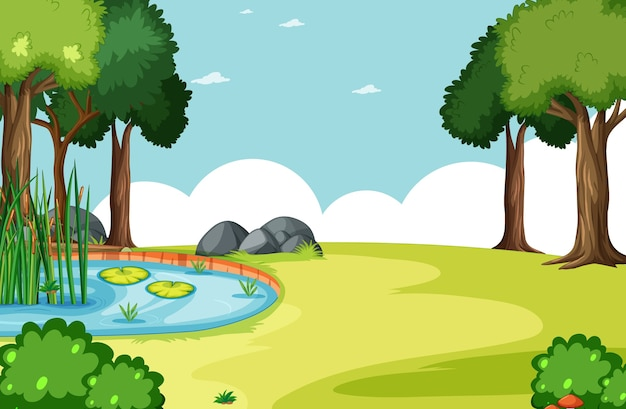 Natuurpark met moerasscène