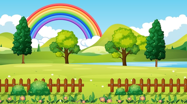 Natuurpark scène achtergrond met regenboog in de lucht