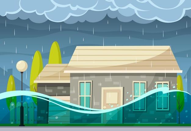 Natuurramp cartoon compositie van buitenlandschap met levende huizen en regenachtige wolken met overstromingswater