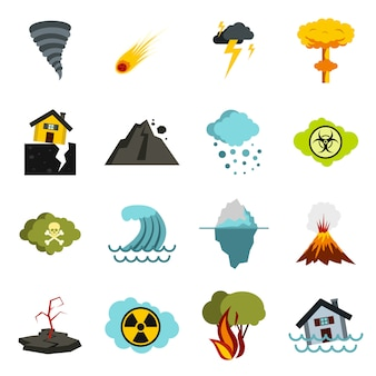 Natuurramp geplaatste pictogrammen, vlakke ctyle
