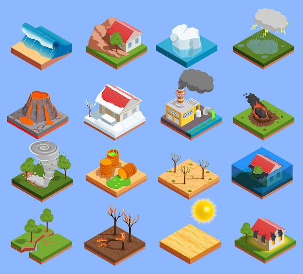 Natuurramp icons set