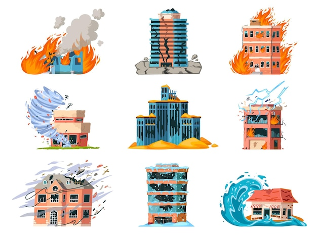 Natuurrampen beschadigen stadsgebouwen, aardbevingen, orkanen en brand. opstalverzekering voor catastrofe, tornado of overstromingsongeval vector set